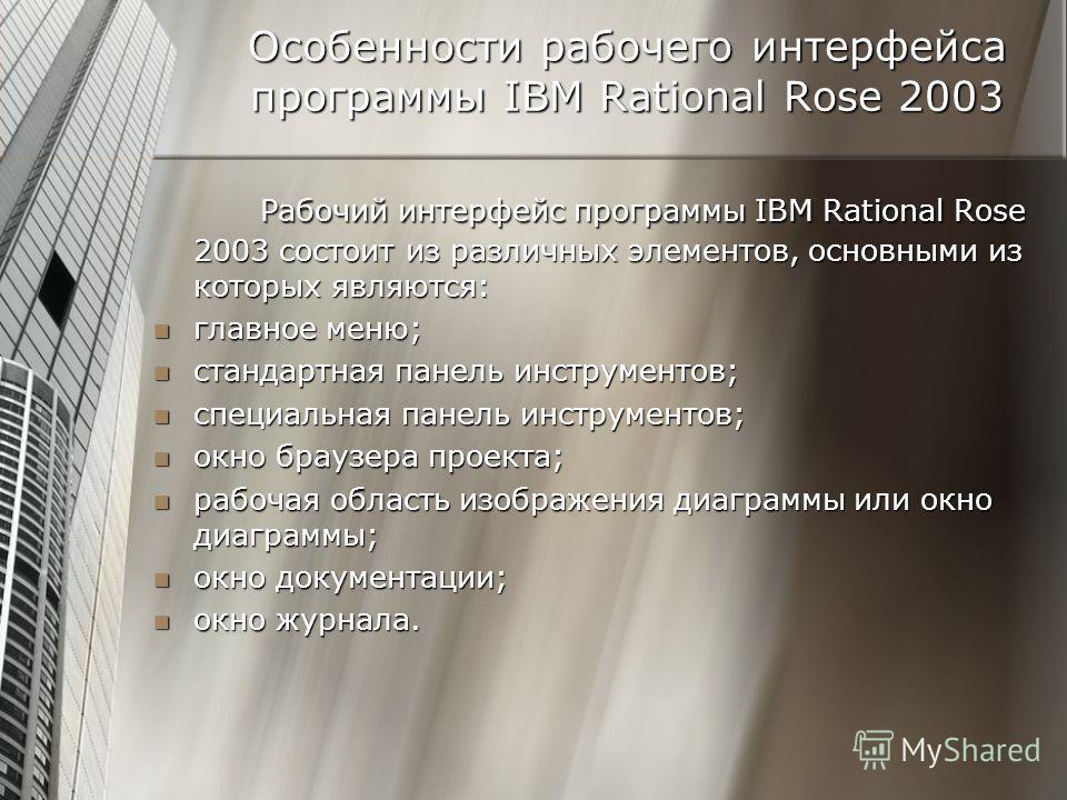 Особенности рабочего интерфейса программы IBM Rational Rose 2003 Рабочий интерфейс программы IBM Rational Rose 2003 состоит из различных элементов, основными из которых являются: главное меню; главное меню; стандартная панель инструментов; стандартна