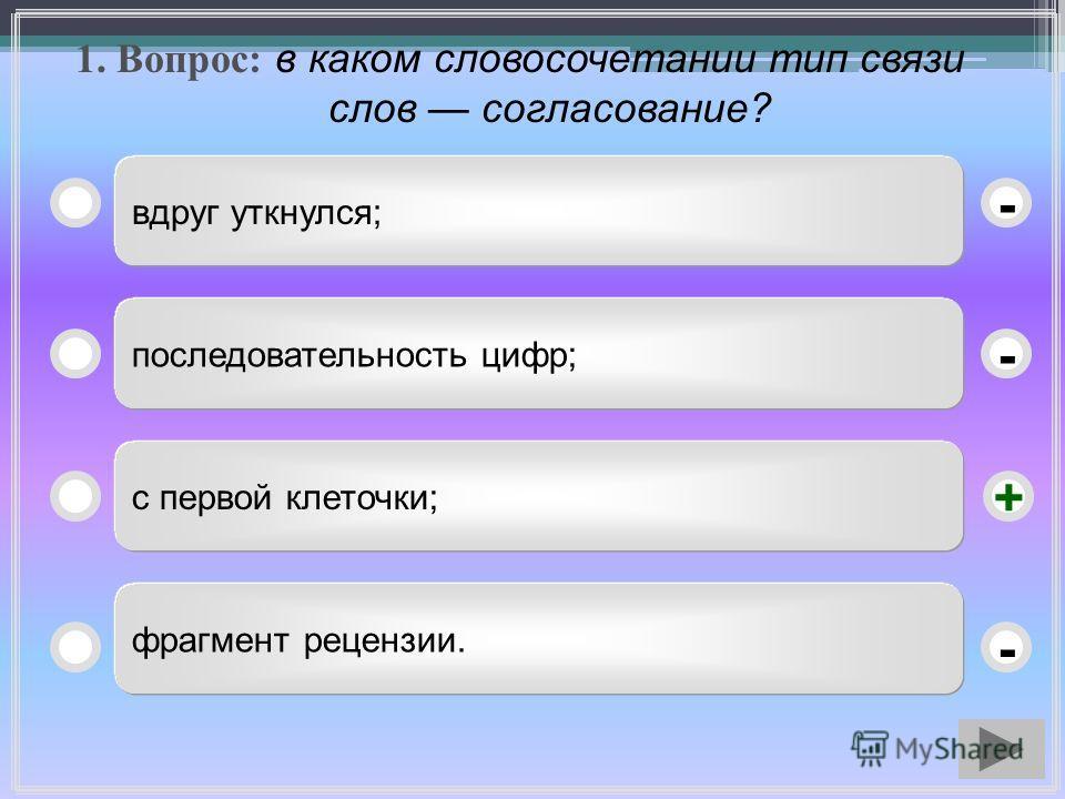 1. Вопрос: в каком словосочетании тип связи слов согласование? вдруг уткнулся; последовательность цифр; с первой клеточки; фрагмент рецензии. - - + -