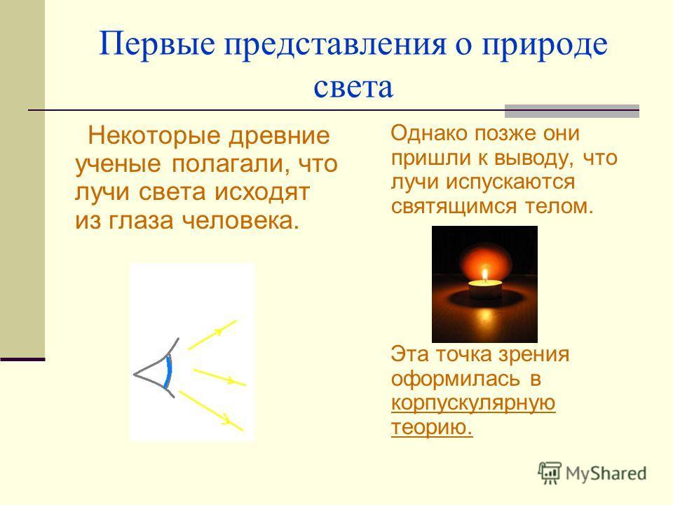 Первые представления о природе света Некоторые древние ученые полагали, что лучи света исходят из глаза человека. Однако позже они пришли к выводу, что лучи испускаются святящимся телом. Эта точка зрения оформилась в корпускулярную теорию.