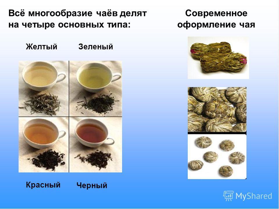 Всё многообразие чаёв делят на четыре основных типа: ЖелтыйЗеленый Красный Черный Современное оформление чая