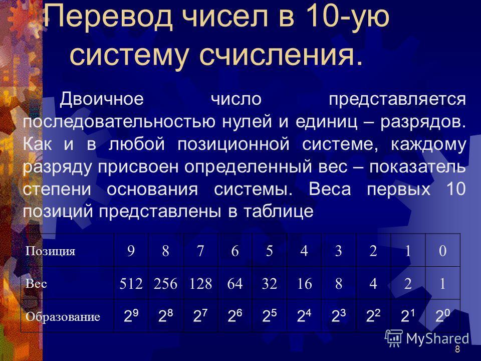 8 Перевод чисел в 10-ую систему счисления. Двоичное число представляется последовательностью нулей и единиц – разрядов. Как и в любой позиционной системе, каждому разряду присвоен определенный вес – показатель степени основания системы. Веса первых 1