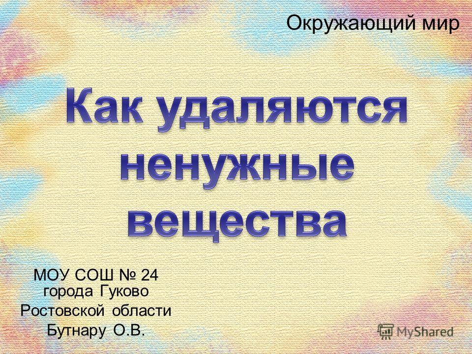 Окружающий мир МОУ СОШ 24 города Гуково Ростовской области Бутнару О.В.