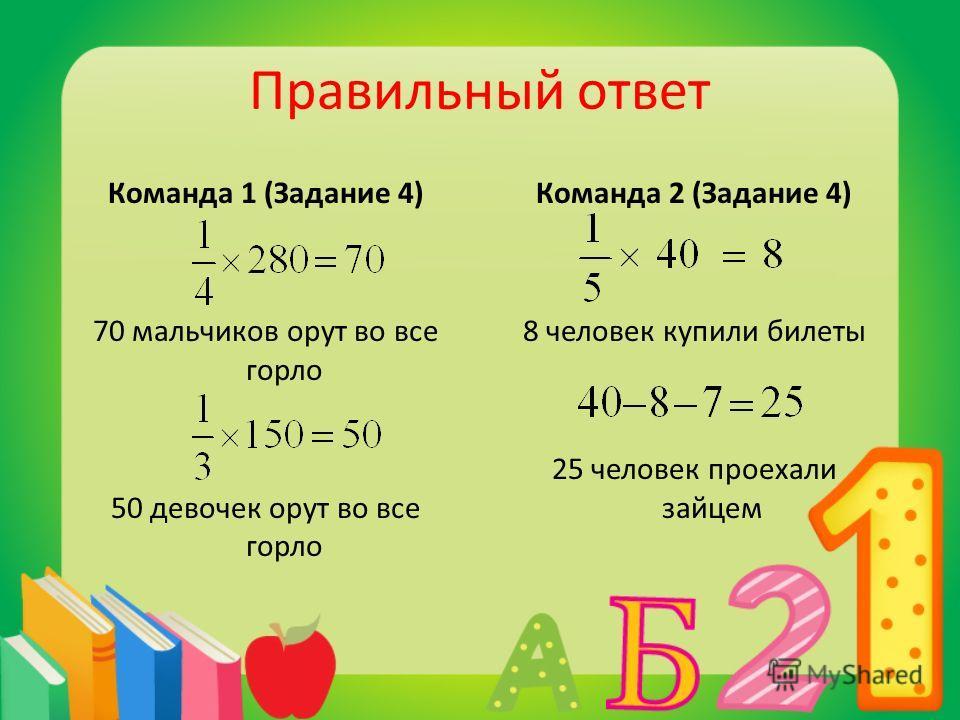 Правильный ответ Команда 1 (Задание 4) 70 мальчиков орут во все горло 50 девочек орут во все горло Команда 2 (Задание 4) 8 человек купили билеты 25 человек проехали зайцем