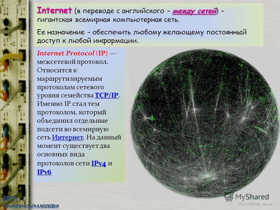 МОУ СОШ 6 г. Реутов Internet (в переводе с английского – м мм между сетей) – гигантская всемирная компьютерная сеть. Ее назначение – обеспечить любому желающему постоянный доступ к любой информации. TCP/IP Интернет TCP/IP Интернет IPv 4 IPv6 Internet