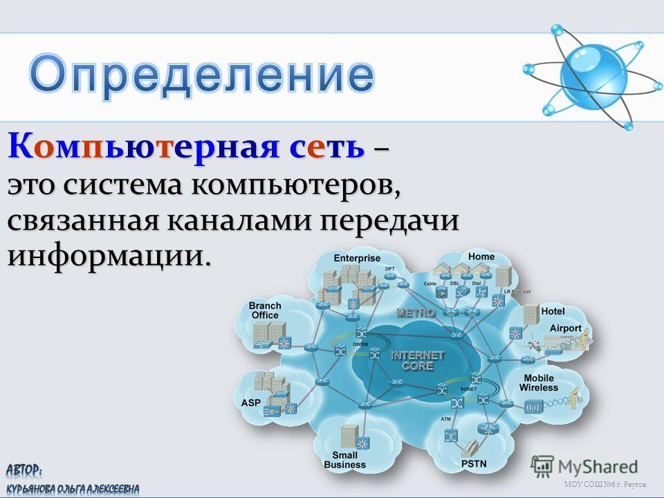 МОУ СОШ 6 г. Реутов Компьютерная сеть – это система компьютеров, связанная каналами передачи информации.
