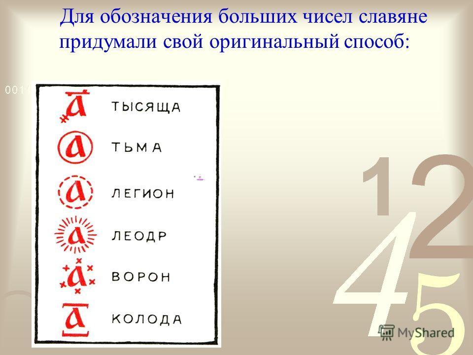 Для обозначения больших чисел славяне придумали свой оригинальный способ: