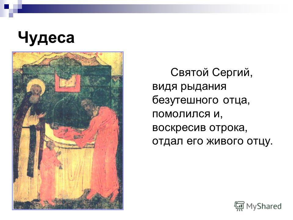Чудеса Святой Сергий, видя рыдания безутешного отца, помолился и, воскресив отрока, отдал его живого отцу.