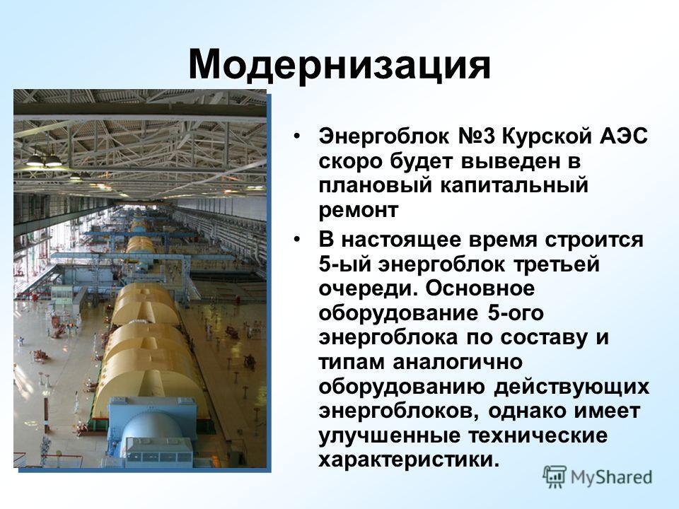 Модернизация Энергоблок 3 Курской АЭС скоро будет выведен в плановый капитальный ремонт В настоящее время строится 5-ый энергоблок третьей очереди. Основное оборудование 5-ого энергоблока по составу и типам аналогично оборудованию действующих энергоб