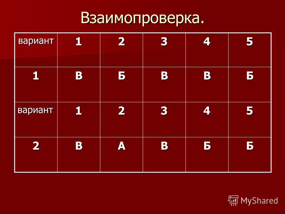Взаимопроверка. вариант12345 1ВБВВБ вариант12345 2ВАВББ