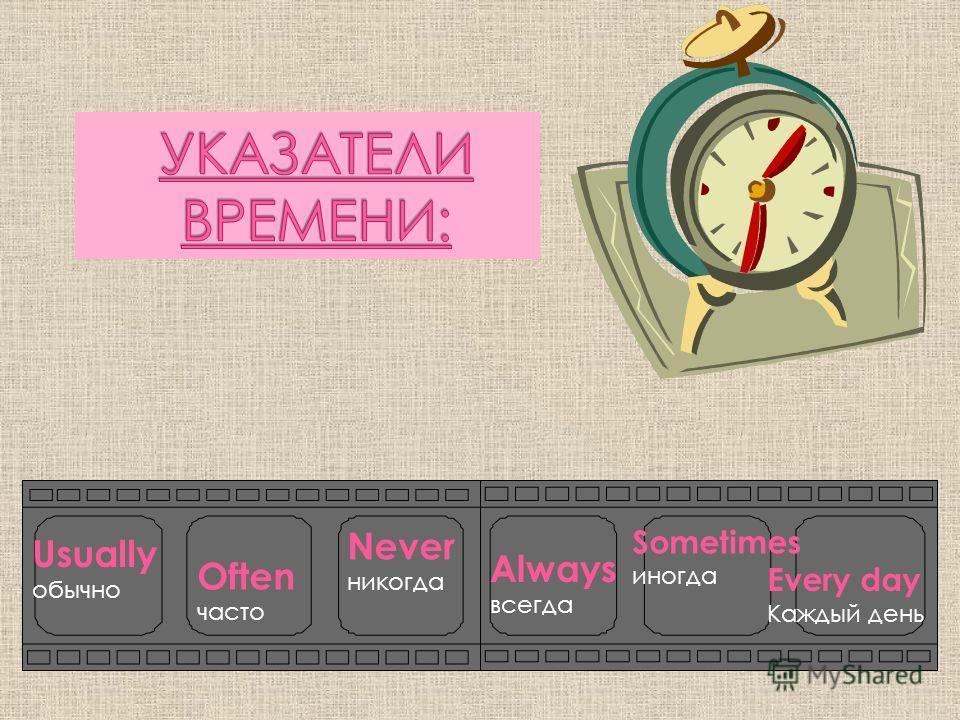 Usually обычно Often часто Never никогда Always всегда Sometimes иногда Every day Каждый день