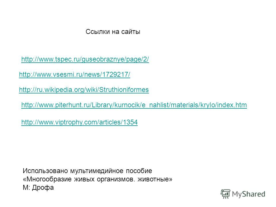http://www.tspec.ru/guseobraznye/page/2/ http://www.vsesmi.ru/news/1729217/ http://ru.wikipedia.org/wiki/Struthioniformes http://www.piterhunt.ru/Library/kurnocik/e_nahlist/materials/krylo/index.htm http://www.viptrophy.com/articles/1354 Ссылки на са