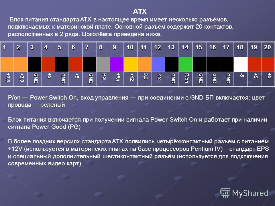 АТX Блок питания стандарта ATX в настоящее время имеет несколько разъёмов, подключаемых к материнской плате. Основной разъём содержит 20 контактов, расположенных в 2 ряда. Цоколёвка приведена ниже. P/on Power Switch On, вход управления при соединении