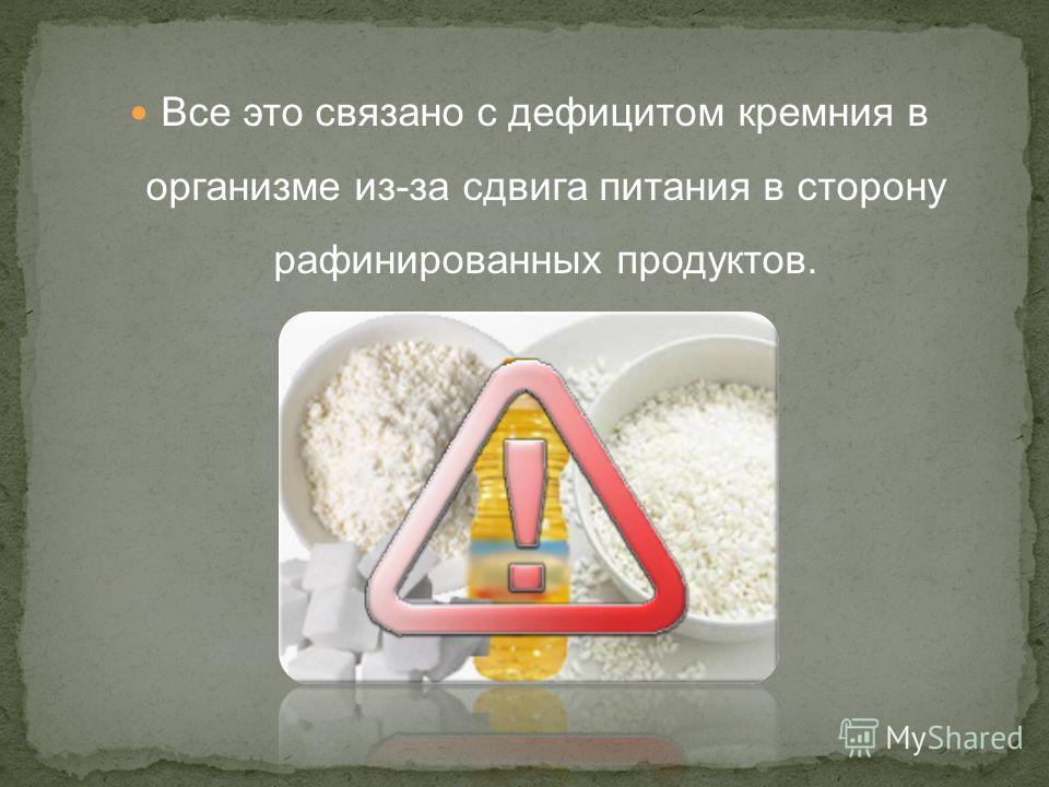 Все это связано с дефицитом кремния в организме из-за сдвига питания в сторону рафинированных продуктов.