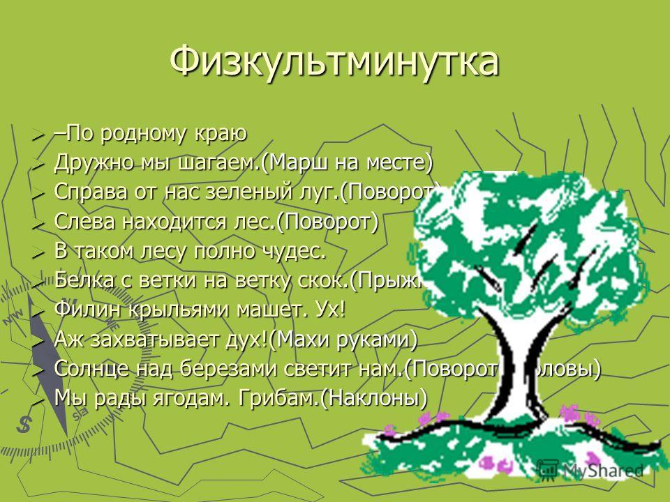 Физкультминутка –По родному краю –По родному краю Дружно мы шагаем.(Марш на месте) Дружно мы шагаем.(Марш на месте) Справа от нас зеленый луг.(Поворот) Справа от нас зеленый луг.(Поворот) Слева находится лес.(Поворот) Слева находится лес.(Поворот) В