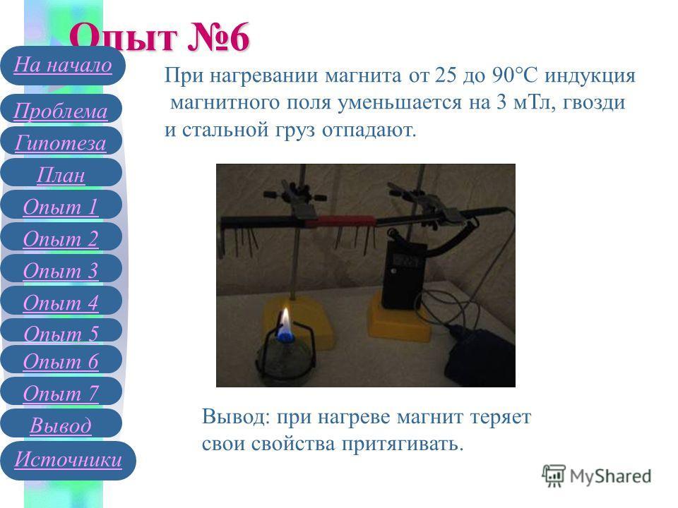 Опыт 6 При нагревании магнита от 25 до 90 С индукция магнитного поля уменьшается на 3 мТл, гвозди и стальной груз отпадают. Вывод: при нагреве магнит теряет свои свойства притягивать. Гипотеза План Опыт 1 Опыт 2 Проблема На начало Опыт 3 Вывод Источн