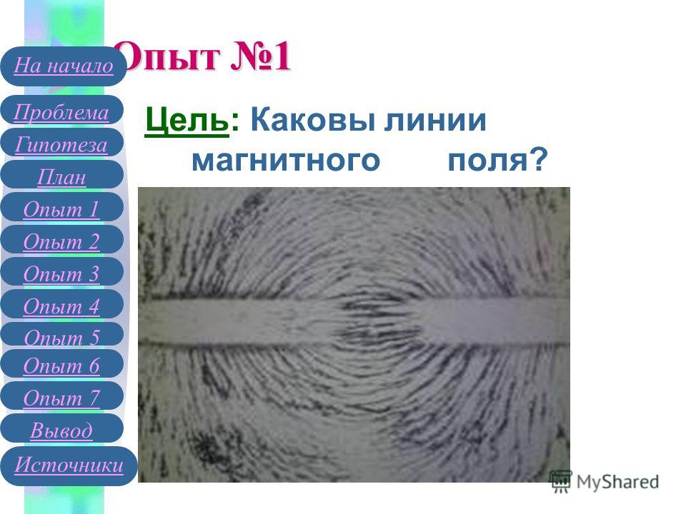 Опыт 1 Цель: Каковы линии магнитного поля? Гипотеза План Опыт 1 Опыт 2 Проблема На начало Опыт 3 Вывод Источники Опыт 4 Опыт 5 Опыт 6 Опыт 7