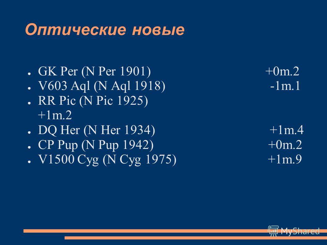 Оптические новые GK Per (N Per 1901) +0m.2 V603 Aql (N Aql 1918) -1m.1 RR Pic (N Pic 1925) +1m.2 DQ Her (N Her 1934) +1m.4 CP Pup (N Pup 1942) +0m.2 V1500 Cyg (N Cyg 1975) +1m.9