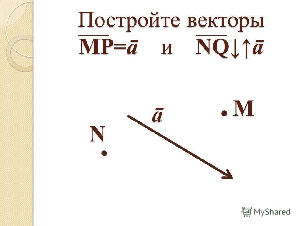 Постройте векторы МР=ā и NQā ā М N