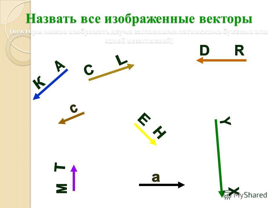 Назвать все изображенные векторы (векторы можно изображать двумя заглавными латинскими буквами или одной незаглавной)