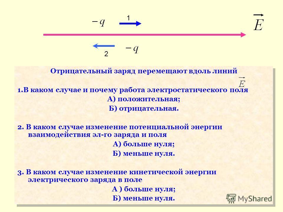 1 2 Отрицательный заряд перемещают вдоль линий 1.В каком случае и почему работа электростатического поля А) положительная; Б) отрицательная. 2. В каком случае изменение потенциальной энергии взаимодействия эл-го заряда и поля А) больше нуля; Б) меньш