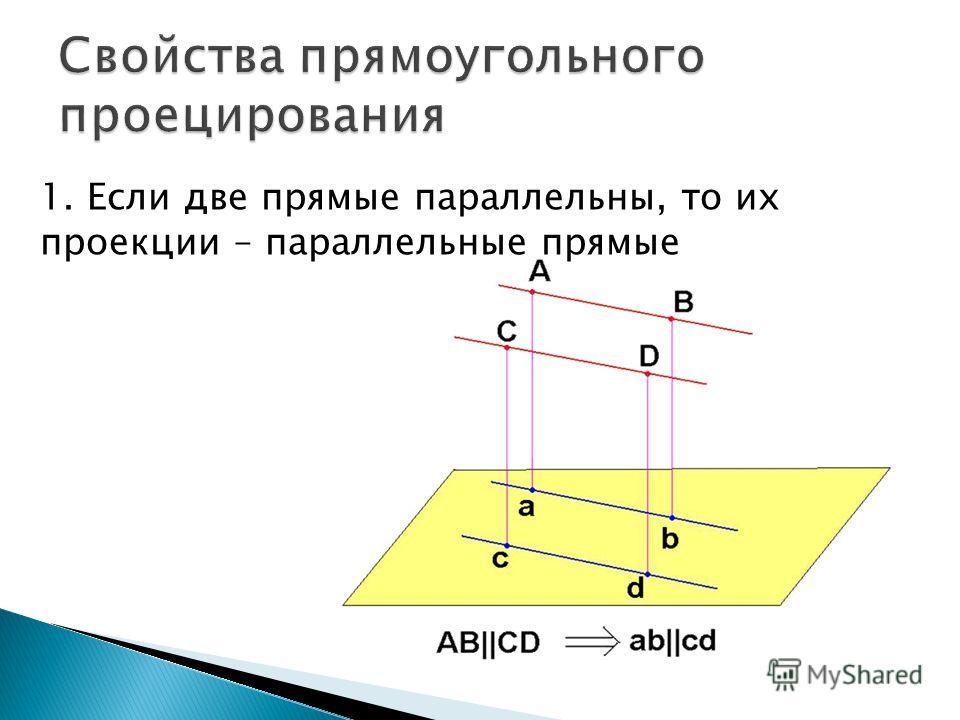 1. Если две прямые параллельны, то их проекции – параллельные прямые
