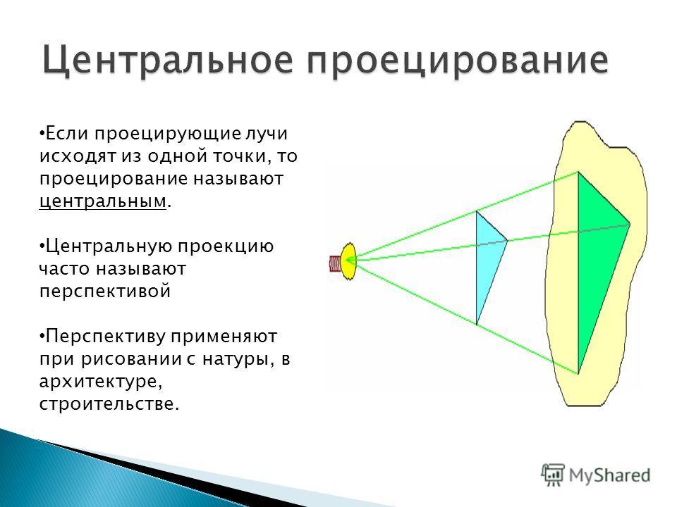 Если проецирующие лучи исходят из одной точки, то проецирование называют центральным. Центральную проекцию часто называют перспективой Перспективу применяют при рисовании с натуры, в архитектуре, строительстве.