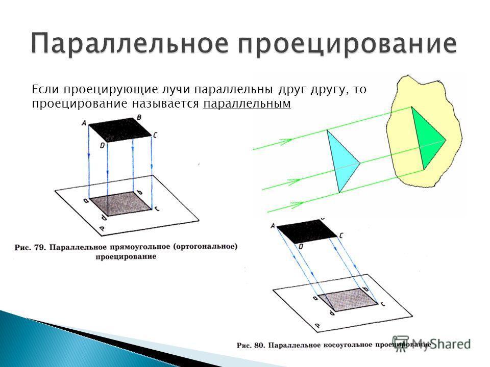 Если проецирующие лучи параллельны друг другу, то проецирование называется параллельным