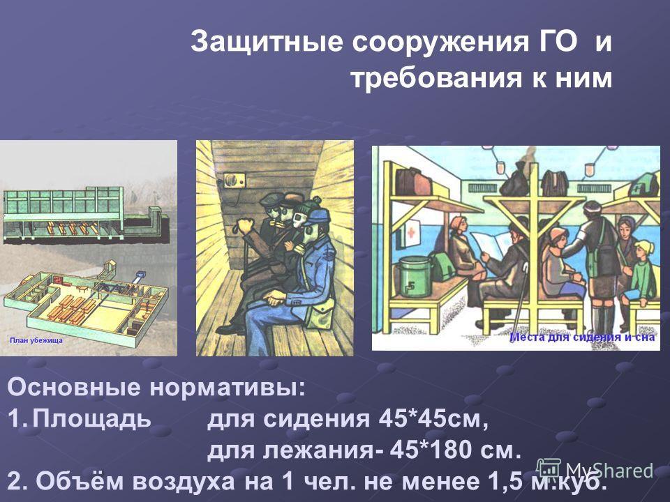 Основные нормативы: 1.Площадь для сидения 45*45см, для лежания- 45*180 см. 2. Объём воздуха на 1 чел. не менее 1,5 м.куб. Защитные сооружения ГО и требования к ним