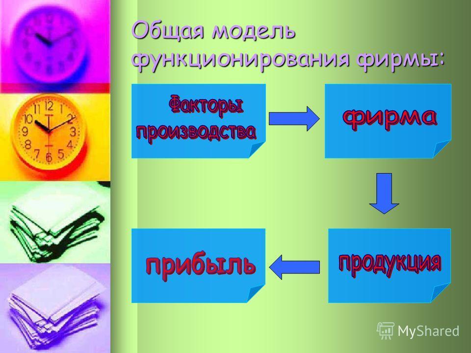 Общая модель функционирования фирмы: