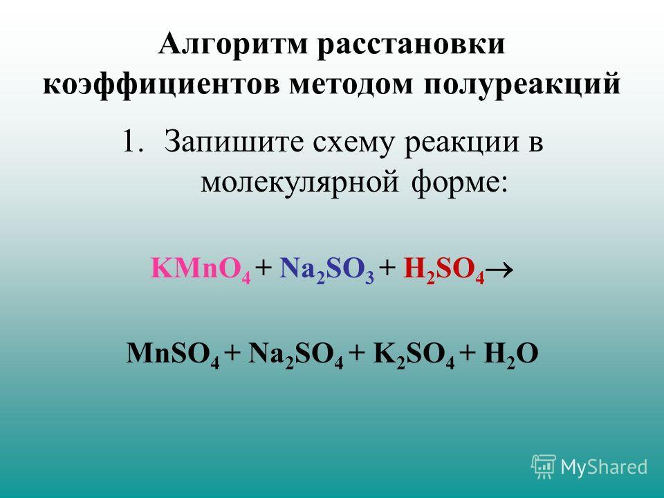 Алгоритм расстановки коэффициентов методом полуреакций 1.Запишите схему реакции в молекулярной форме: KMnO 4 + Na 2 SO 3 + H 2 SO 4 MnSO 4 + Na 2 SO 4 + K 2 SO 4 + H 2 O