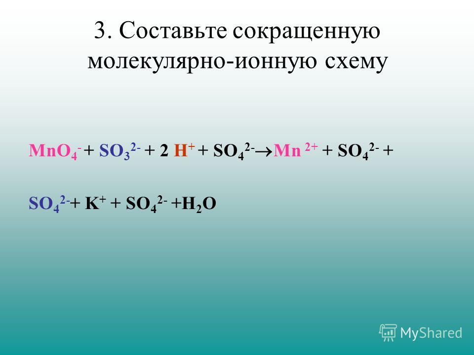 3. Составьте сокращенную молекулярно-ионную схему MnO 4 - + SO 3 2- + 2 H + + SO 4 2- Mn 2+ + SO 4 2- + SO 4 2- + K + + SO 4 2- +H 2 O
