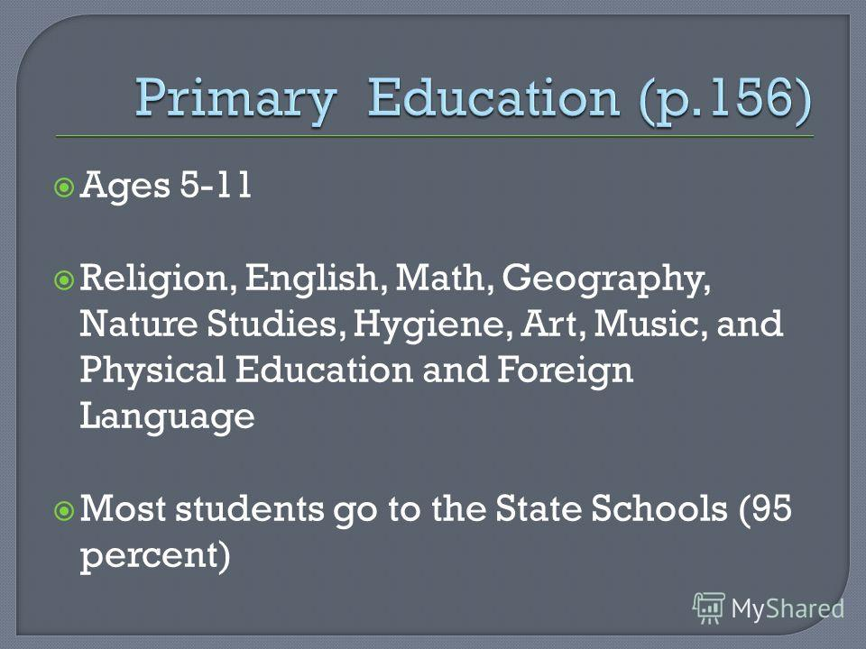 Ages 5-11 Religion, English, Math, Geography, Nature Studies, Hygiene, Art, Music, and Physical Education and Foreign Language Most students go to the State Schools (95 percent)