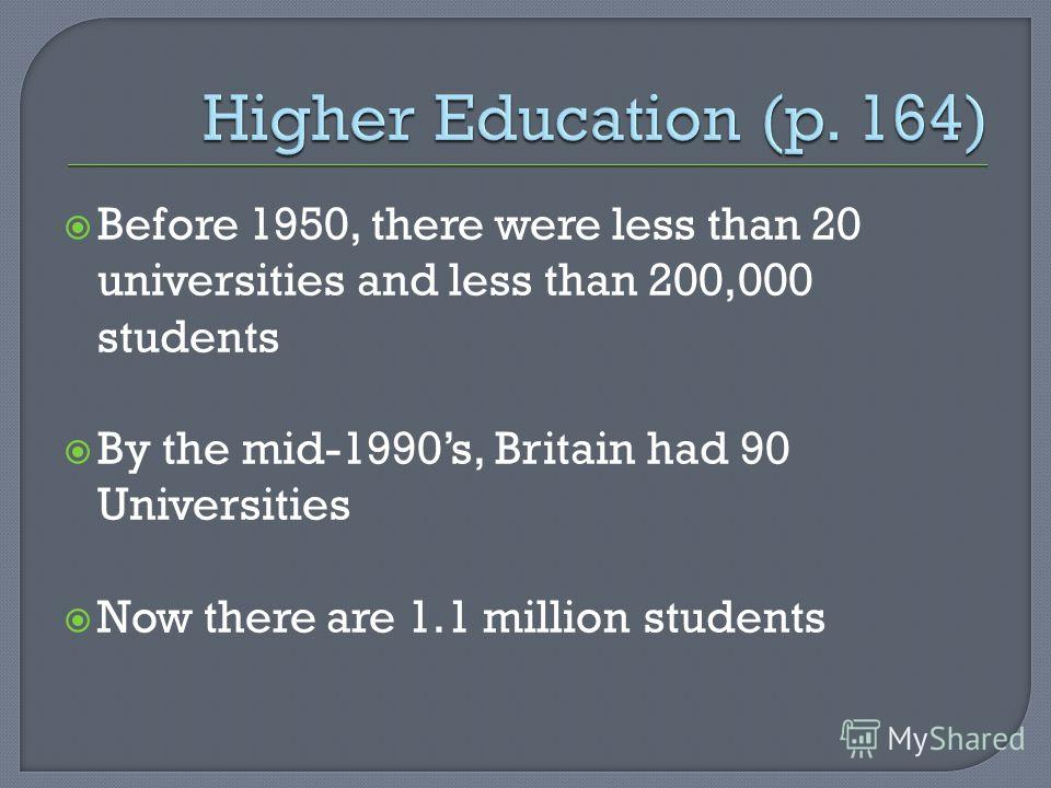 Before 1950, there were less than 20 universities and less than 200,000 students By the mid-1990s, Britain had 90 Universities Now there are 1.1 million students