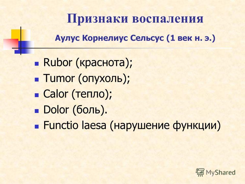 Признаки воспаления Аулус Корнелиус Сельсус (1 век н. э.) Rubor (краснота); Tumor (опухоль); Calor (тепло); Dolor (боль). Functio laesa (нарушение функции)