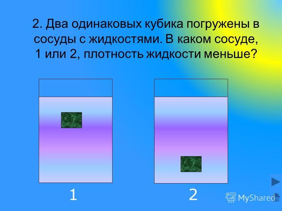 2. Два одинаковых кубика погружены в сосуды с жидкостями. В каком сосуде, 1 или 2, плотность жидкости меньше? 12