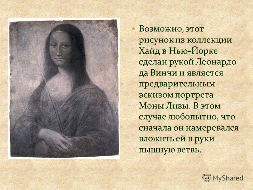 Возможно, этот рисунок из коллекции Хайд в Нью-Йорке сделан рукой Леонардо да Винчи и является предварительным эскизом портрета Моны Лизы. В этом случае любопытно, что сначала он намеревался вложить ей в руки пышную ветвь.