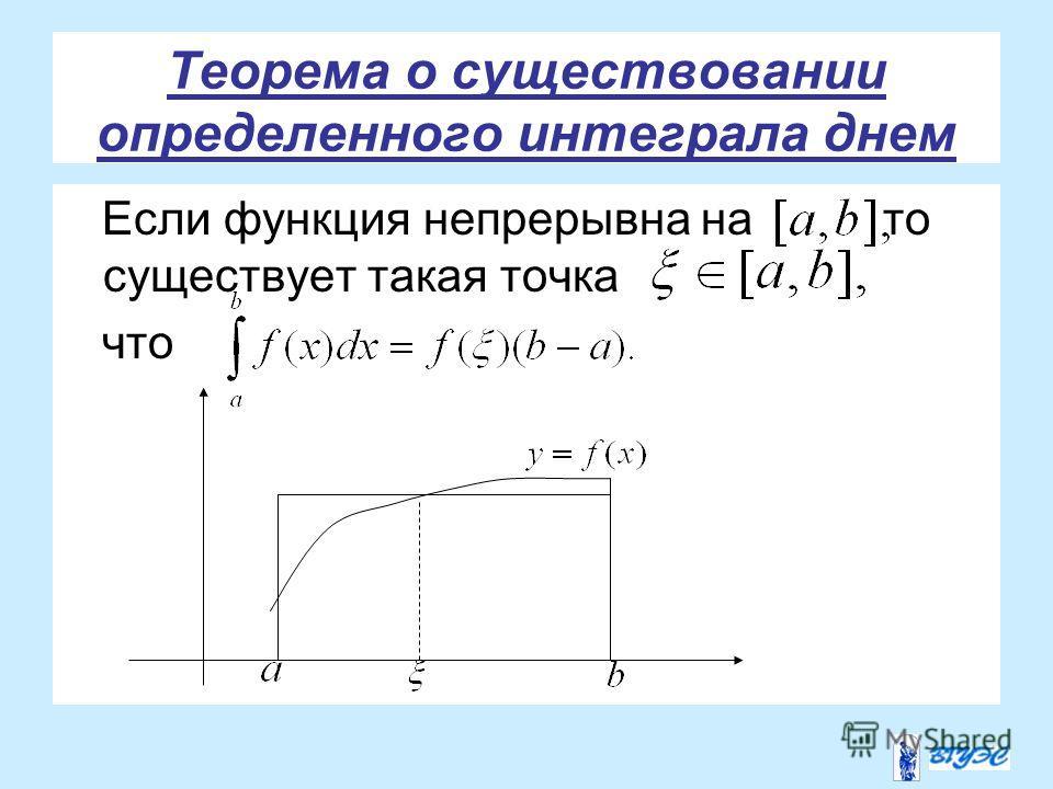 Теорема о существовании определенного интеграла днем Если функция непрерывна на то существует такая точка что