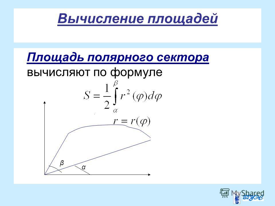 Вычисление площадей Площадь полярного сектора вычисляют по формуле. α β