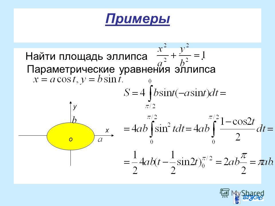 Примеры Найти площадь эллипса. Параметрические уравнения эллипса у о х