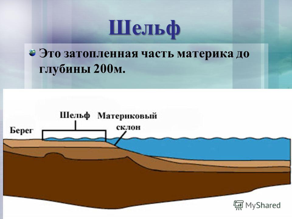 Шельф Это затопленная часть материка до глубины 200м.