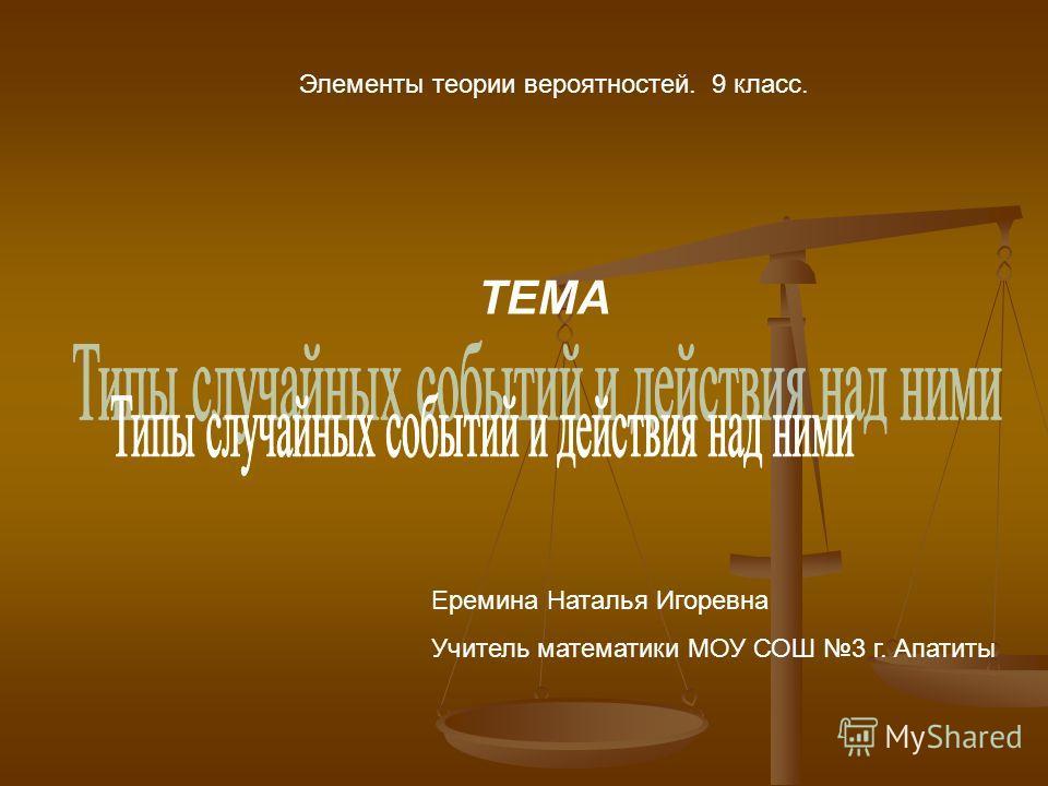 Элементы теории вероятностей. 9 класс. ТЕМА Еремина Наталья Игоревна Учитель математики МОУ СОШ 3 г. Апатиты