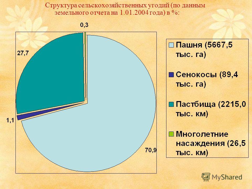 Структура сельскохозяйственных угодий (по данным земельного отчета на 1.01.2004 года) в %: