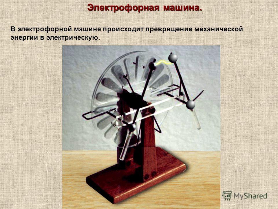 Электрофорная машина. В электрофорной машине происходит превращение механической энергии в электрическую.