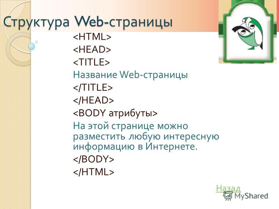 Структура Web- страницы Название Web- страницы На этой странице можно разместить любую интересную информацию в Интернете. Назад