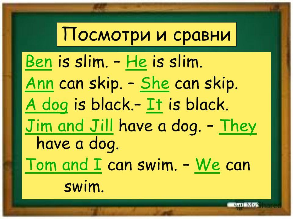 Посмотри и сравни Ben is slim. – He is slim. Ann can skip. – She can skip. A dog is black.– It is black. Jim and Jill have a dog. – They have a dog. Tom and I can swim. – We can swim.