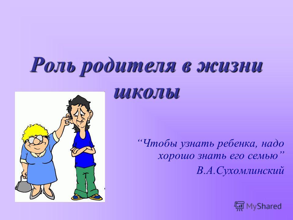 Роль родителя в жизни школы Чтобы узнать ребенка, надо хорошо знать его семью В.А.Сухомлинский