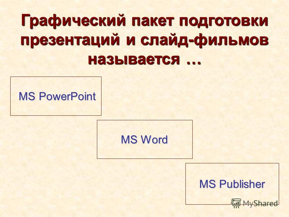 Графический пакет подготовки презентаций и слайд-фильмов называется … MS PowerPoint MS PowerPoint MS Word MS Word MS Publisher MS Publisher