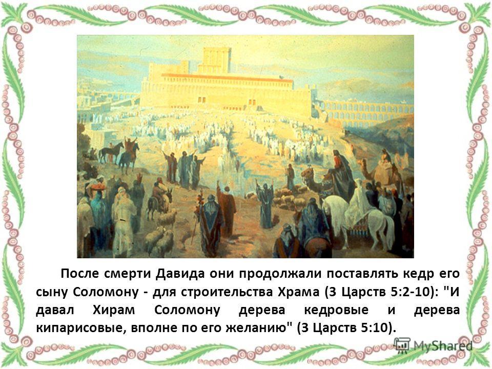 После смерти Давида они продолжали поставлять кедр его сыну Соломону - для строительства Храма (3 Царств 5:2-10): И давал Хирам Соломону дерева кедровые и дерева кипарисовые, вполне по его желанию (3 Царств 5:10).