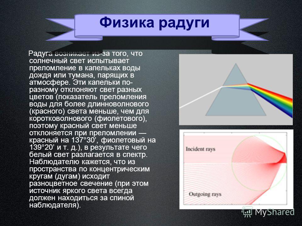 Радуга возникает из-за того, что солнечный свет испытывает преломление в капельках воды дождя или тумана, парящих в атмосфере. Эти капельки по- разному отклоняют свет разных цветов (показатель преломления воды для более длинноволнового (красного) све