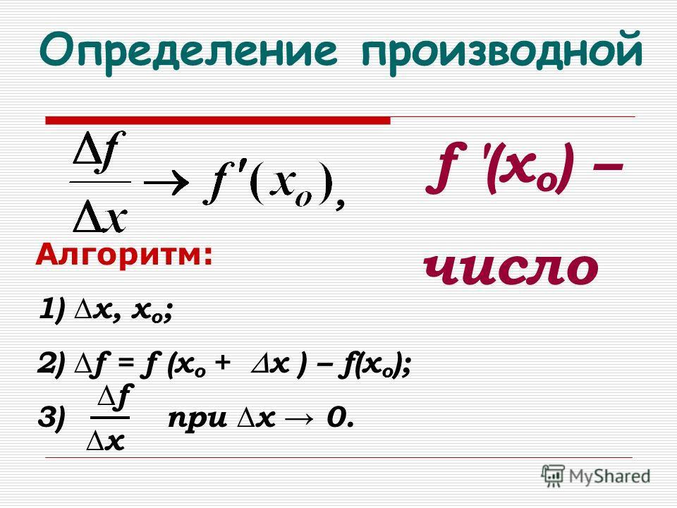 Определение производной f (x о ) – число Алгоритм: 1) х, хо;хо; 2) f = f (х о + х ) – f(х о ); 3) при х 0., f x